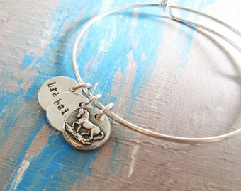Personalized Horse Bracelet, Adjustable Sterling Bangle with Feisty Horse and Name Charms, Handmade by SilverWishes