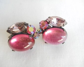 Vinatage Pink Coro Clip On Earrings