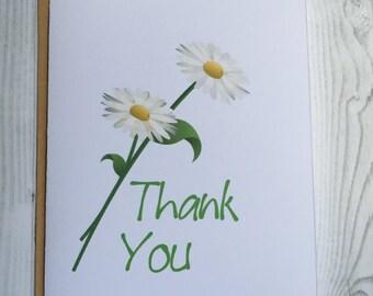 Daisy Thank You Card, Invitation, Blank Card, Greeting Card, All Occasion Card