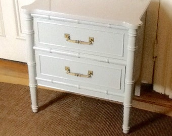 Bamboo Night Stand / Chippendale Regency Pair