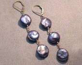 Coin Pearl earrings / Indigo Coin Pearl earrings / Purple Pearl earrings / Pearl dangles / in 14K Gold Fill or Sterling Silver