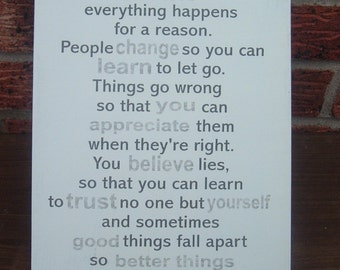 shabby chic i believe everything happens for a reason marilyn monroe quote  sign plaque