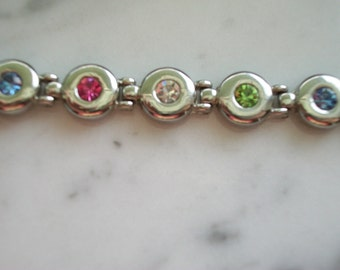 Bracelet with Multi Color Crystals Set in Silver Tone