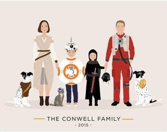 Custom Family Portrait Star Wars theme, Star Wars gift