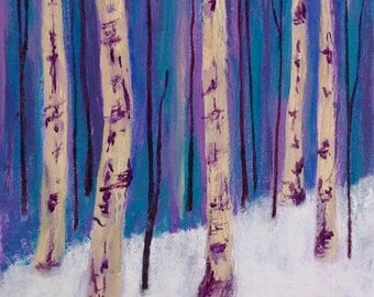 winter landscape painting, birch trees in snow, original art, FREE shipping in U.S. only