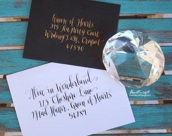 Calligraphy Modern Pointed Pen Custom Wedding Party Envelopes Gold or Black ink