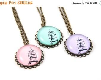 ON SALE Custom Color Birdcage bronze Necklace