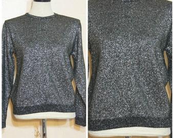 Silver Metallic Sweater Medium 90s Party Oversized Jumper Sparkle