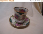 Independence Day Sale Vintage Cup and Saucer with Roses for Tea or Sake, made in Japan