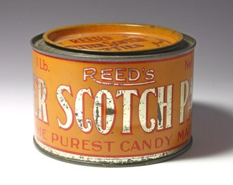 Vintage Reed's Butter Scotch Patties Candy Tin - circa 1930's
