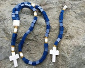 Boy's First Communion Gift Special-Lego Rosary and Lego Chaplet - Navy Blue White and Gold Catholic Lego Rosary