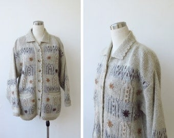 Vintage Mohair Wool Sweater Oversized Cardigan Knit Oster Sweater