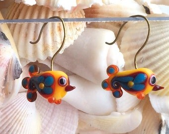 Paisley Folk Bird Red, Yellow & Blue Earrings