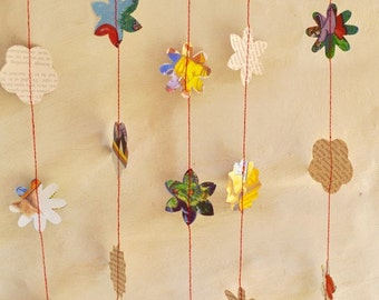CHRISTMAS PAPER GARLAND  Vintage Little Golden Book A christmas Carol re-purposed upcycled  baby shower christmas decoration