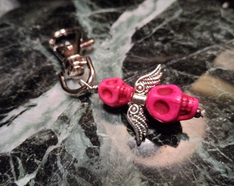 Day of the Dead Hot Pink Skull Angel Key Chain