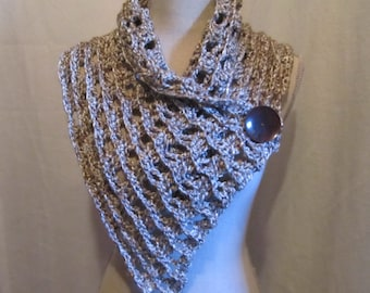 Crocheted Large Neckwarmer Collar Scarf with A Large Vintage Button.....Shiny Brown and White