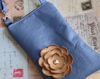 Slate Blue Leather with Honey Gold Mustard Poppy Flower Cell Phone Ipod Iphone Droid Gadget Case Zipper Pouch