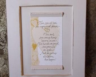 Shabby Wedding gift, verse inspirational wall decor, Ivory Hearts
