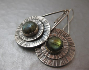 Sterling Silver Disk Earrings with Labradorite