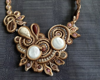 Beige tone varios gem beads crafted with silk strip necklace