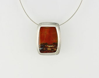 Handcrafted Sterling Silver & Red Creek Jasper Pendant Natural Stone Cabochon Abstract Landscape Contemporary Artisan Jewelry 4968896162315