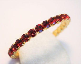 Vintage red crystal bangle.  Rhinestone bangle.