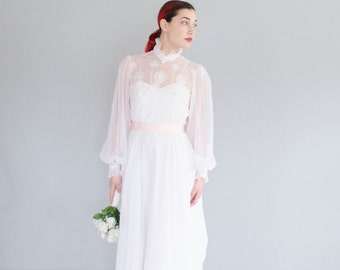 70s Chiffon Wedding Dress - Vintage 1970s Wedding Gown -  Oltre la Luna Wedding Gown