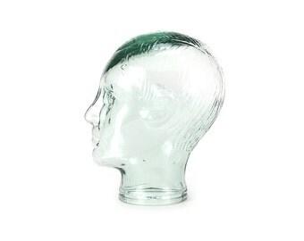 vintage light green glass male mannequin head