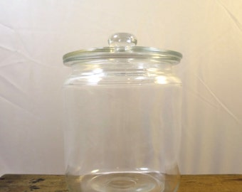 Vintage Glass Apothecary Jar Clear Lid w/ Knob Clear Glass Jar w/ Knob Lid Candy Jar Storage Jar Apothecary Jar 5 x 3.5 in