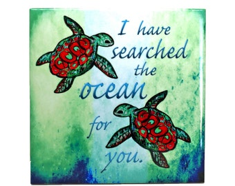 Searching Sea Turtle Wall Art Ceramic Tile