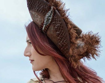 Pirate Wench Brown Tricorn Hat