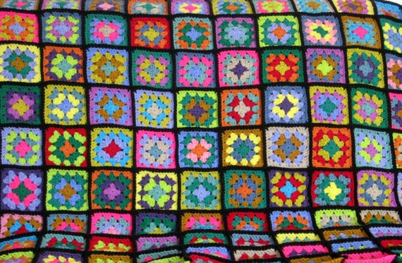 Granny Square Crochet Blanket Afghan Stained Glass Style
