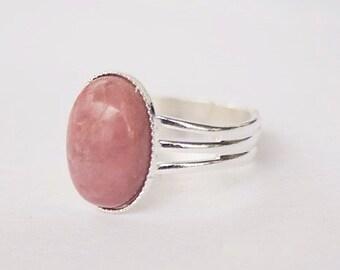 Pink Ring Pink Stone Ring Pink Rhodonite Ring Pink Gemstone Ring Oval Pink Ring Rhodonite Gemstone Ring