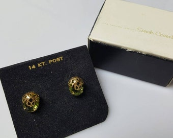 Sarah Coventry A Touch of Elegance 14 kt gold Pierced   Earrings 1970 Original box