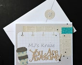 Congratulations - Just Because- Thinking of You - Newsprint Coffee Cup You Are Awesome Card with Matching Envelope Seal