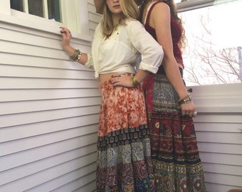 Eco Gypsy SKIRT, size S/M  eco clothing, hippie skirt, festival skirt,  long boho skirt, rayon skirt,  full skirt, patchwork skirt, Zasra