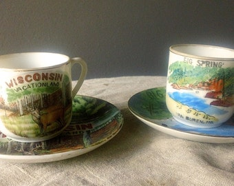 PR of Vintage Souvenir TEACUP Sets - Wisconsin and Van Buren, MO