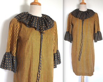 Vintage 1960's Dress // Mod Grey and Yellow Striped Shift Dress with Polka Dot Ruffled Cuffs and Collar // Pierrot
