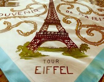 Vintage Paris Souvenir Scarf // Eiffel Tower // France Souvenir #R913b