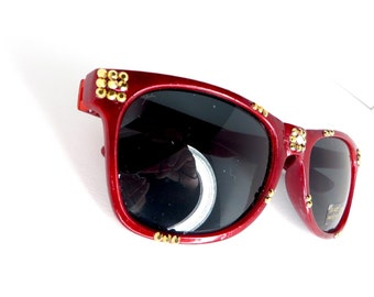 Iron Man Metallic Red Inspired Wayfarer Sunglasses With Gold Rhinestones