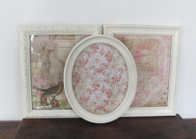 picture frame set three cream frames antique white shabby. Black Bedroom Furniture Sets. Home Design Ideas