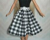 "Handmade 11.5"" fashion doll clothes - black and white dress"