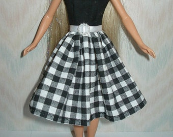 "Handmade 11.5"" fashion doll clothes - black and white dress"