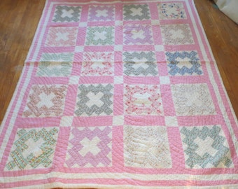 Antique Feedsack Quilt-PINK