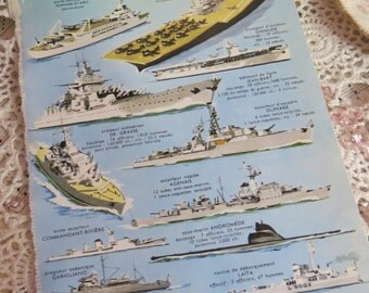 Reference-Audubon-Book Plates-French-Battle Ships-Navy-Sea