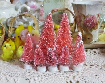 Beautiful Pretty Pink Pastel Easter-Bottle Brush Tree-Decoration-Putz-7 piece set