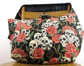 SKULL BAG - Crossbody Hobo Bag - Goth Bag - Skull and Roses - Large Bag - Cross Body Bag - Crossbody Purse - Hippie Bag - Day of the Dead