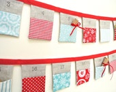 The original Christmas Bunting advent calendar ~ Red & Blue ~ 24 linen flags. Ready to Ship!