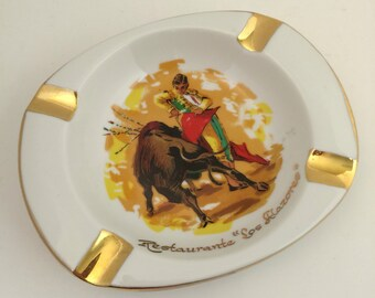"Vintage Ashtray Bullfighter Restaurant Souvenir - Restaurante ""Los Alazores"""