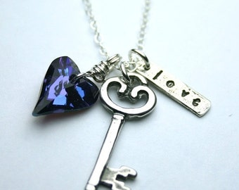 ON SALE Key to My Wild Heart Charm Necklace in Purple- Swarovski Crystal Heart and Stelring Silver Necklace in Tanzanite